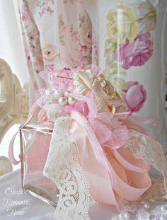 Vintage Shabby Pink! ///   A bottle wreathed in pink and cream ribbons and luscious things.