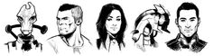 Mass Effect,фэндомы,ME art,kate-niemczyk,Mordin,James Vega,Miranda Lawson,Legion,Kaidan