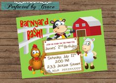 DIY PRIntABLE Farm Birthday Party Invitation Barnyard Bash With Cow, Pig and Sheep Customized with your Details by PerfectedbyGrace on Etsy