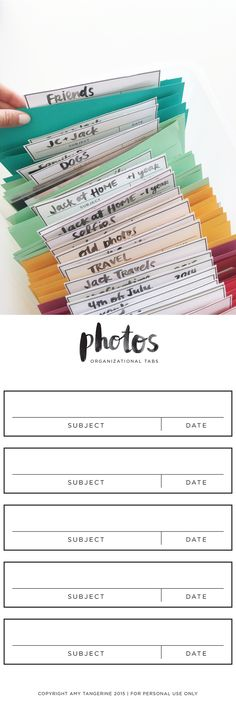 Photo Organization + Free Printable Photo Tabs from Amy Tangerine