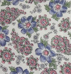 1yd x 36 wide Vintage Pink and Blue Floral