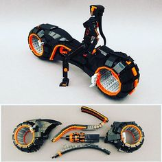 Here's another view of the Tron Light Cycle as well as an exploded version of it. Amazing work by Joe Perez aka MortalSwordsman. . Source: https://m.flickr.com/#/photos/mortalswordsman/24216032351/ .