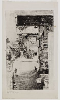 John W. Winkler, Corner Fruit Stand with Hydrant, 1921. Etching.