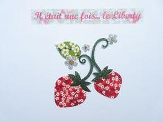 Appliqué thermocollant fraises en liberty Mitsi valeria rouge et tissus pailletés. : Ecussons, appliques par il-etait-une-fois-le-liberty