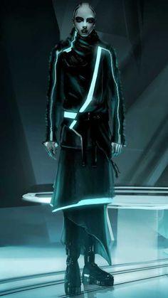 "Concept art of a citizen by Steve Jung from ""Tron: Legacy"" Character Concept, Character Art, Concept Art, Character Design, Alien Concept, Character Creation, Cyberpunk Girl, Cyberpunk Character, Cyberpunk 2020"