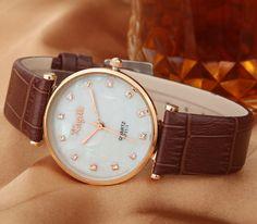Barato Moda senhora relógios de pulso mulheres de diamante shell dial vestido relógio relógio de quartzo de couro de, Compro Qualidade   diretamente de fornecedores da China:            Disque diâmetro: 3,3