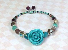 Memory Wire Bracelet Turquoise Rose Bracelet by JewelryCharmers, $18.00