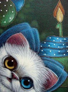 Cat Art...=^.^=...♥ White Fairy Kitten Cat Odd Eye with Cupcake by Artist Cyra R.Cancel...