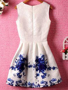 Sleeveless Florals Flare Blue Dress