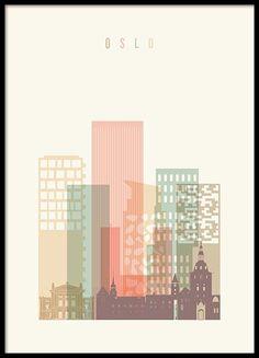 44a15f49afc Oslo Skyline Plakat i gruppen Plakater / Størrelser / hos Desenio AB