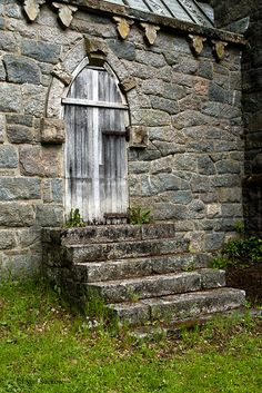 This door is on the back side of St. Conan's Church in Scotland. Pretty narrow step at the top if the door opens outwards!