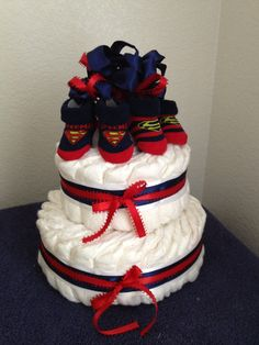 The Superman 2 Tier Baby Boy Diaper Cake by BathBlessings on Etsy, $40.00