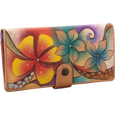 high quality leather wallet with beautiful exotic hand painting on it