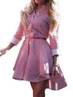 Mulheres elegantes botão de lapela tarja de manga longa hem irregular vestido de camisa