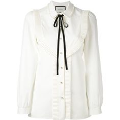 Gucci pleated trim blouse (92.505 RUB) ❤ liked on Polyvore featuring tops, blouses, gucci, white long sleeve top, pleated blouse, white button front blouse, white tops and button front blouse