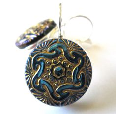 Blue glass buttons, silver leverbacks