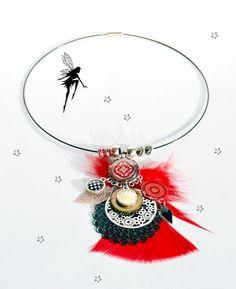 Collier pendentif ras du cou,* Rouge / Argenté /Noir / *,estampes filigranés,chic,élégant,cabochons,plume : Collier par sunkris