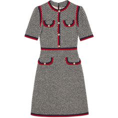 Gucci Tweed Dress With Web ($2,295) ❤ liked on Polyvore featuring dresses, ready to wear, women, zip back dress, chain dress, back zipper dress, tweed dress and lining dress