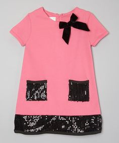 Another great find on #zulily! Pink & Black Sequin Bow Dress - Toddler & Girls by Consolidated Clothiers #zulilyfinds