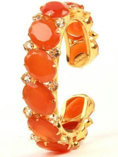 Orange Cuff with Carnelian and Citrine- would love this in every pastel shade. Bijou Box, Jaune Orange, Orange You Glad, Orange Fashion, Orange Crush, Carnelian, My Favorite Color, Burnt Orange, Orange Orange