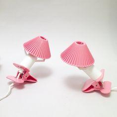 Paire de Lampes pince rose Annees 70 / pink lamps