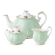 Royal Albert Polka Rose Teapot/ Sugar/ Creamer Set