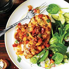 """any recipe with the word """"confetti"""" in it gets my thumbs up...Pan-Grilled Chicken with Chorizo Confetti   MyRecipes.com"""