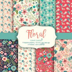 Floral Digital Papers Pack (paper crafts,card making,scrapbooking) by CLIPARTGARDEN on Etsy https://www.etsy.com/listing/464032881/floral-digital-papers-pack-paper