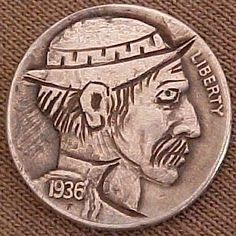 Aaron Lujan - Sneaking Fisherman Hobo Nickel, Buffalo, Coins, Personalized Items, Art, Art Background, Rooms, Kunst, Performing Arts