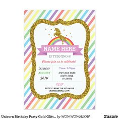 Birthday Party Invitations envelope Thank you card balloons butterfly Unicorn