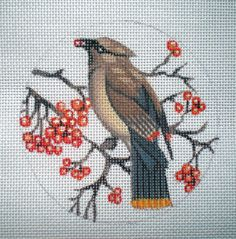 HP Cedar Wax Wing Needlepoint canvas by colors1 on Etsy