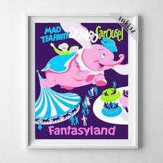Vintage Disneyland, Dumbo Carousel, Disneyland Poster, Fantasyland Print, Nursery Wall Art, Vintage Print, Gift For Her, Wall Art. PRICES FROM $9.95. CLICK PHOTO FOR DETAILS.#nursery#disneyland #disney#babyroom#inkistprints #homedecor #wallart #walldecor #decoration #gift #giftforhim #dorm #poster #print #babygift