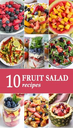 These 10 FRUIT SALAD RECIPES are essential for Summer! Bring these to your favorite BBQ and be the hero of the day. via @beckygallhardin