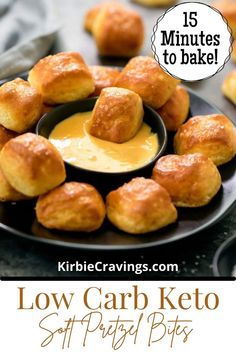 A low carb, keto, gluten free version of soft pretzel bites using fathead dough. This easy, yeast free dough produces a great snack or appetizer that is perfect for game day! These don't taste exactly the same as traditional soft pretzel bites. Instead of a chewy texture, they are more soft and fluffy. However, the crispy salty crust does remind me of soft pretzels. They taste especially good dipped in cheese sauce. Vegan Dessert Recipes, Real Food Recipes, Soup Recipes, Keto Recipes, Desserts, Healthy Dinners For Kids, Easy Snacks, Easy Meals, Vegetarian Casserole