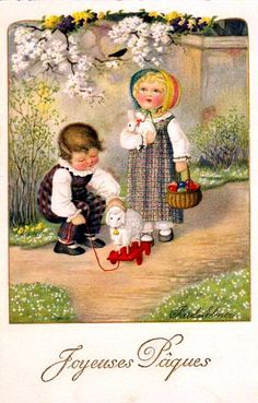 Joyeuses Pâques. French vintage easter card.