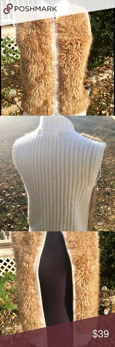 Fux Fur cable knit zippered Vest Cable Knit cream covered vest with fux fur on front. Zippered closure. Pair with leggings  boots and a long T. And your all set for a romp in the leaves   K I K I T  Jackets & Coats Vests