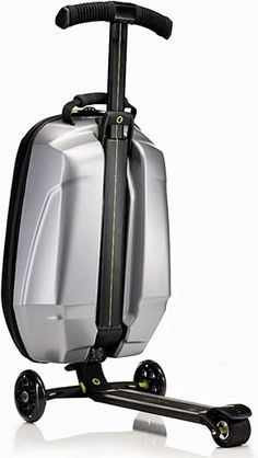 Samsonite Micro Suitcase Scooter - This crazy contraption converts from a carry-on bag or rucksack into a kickboard with front-mounted case thanks to an integrated running board, handlebars, and wheels.