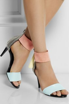 Pierre Hardy|Striped elaphe, leather and suede sandals|NET-A-PORTER.COM