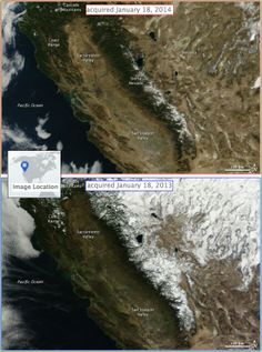 01/23/2014 - Landsat comparison of drought conditions in California.  2014 driest year on record - state of emergency declared.