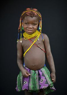 Mwila little girl - Angola    The necklace and the beads are the first sign of the fact that she is no more a baby, but she has became a kid.