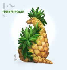 Cute Food Drawings, Cute Animal Drawings, Kawaii Drawings, Cartoon Drawings, Fruit Animals, Cute Animals, Animal Puns, Animal Food, Savage Animals