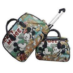 4e0ff6f37 Mala De Viagem Mickey Com Rodas Embutidas Kit C/ 1 Grande E 1 Média