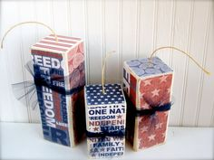 4th of July Wood block Fireworks Set of 3.  Firecrackers Perfect way to celebrate America
