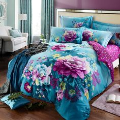 Azure Blue and Purple Tropical Hawaiian Style Exotic Flower Print Rustic Chic Nature Organic Cotton Full, Queen Size Bedding Sets Purple And Grey Bedding, Pink Bedding, Luxury Bedding, Neutral Bedding, Chic Bedding, Dorm Bedding, Queen Size Bedding, Comforter Sets, Girls Bedroom