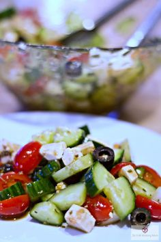 Sharing with you today my kids' favorite salad: Greek Salad. It's delicious, easy to prepare and I know my kids a eating their veggies. ;)