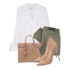 Equipment Blouse x Victoria Beckham Jeans x Saint Laurent Sac De Jour Small Grained Carryall Handbag x Jimmy Choo Anouk Suede Pumps #fashion #style #designer #swatch #white #button #down #blouse #green #denim #nude #handbag #pumps #heels