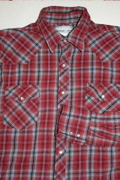 a7f150d9f799 Mens Wrancher Wrangler Red Flannel Pearl Snap Shirt XL Extra Large Long  Sleeve  WrancherbyWrangler