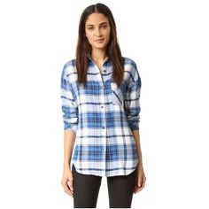 RAILS Jackson Button Down Shirt ($150) ❤ liked on Polyvore featuring tops, blue flannel shirt, long sleeve flannel shirts, long sleeve plaid shirt, long sleeve button down shirts and plaid button down shirt