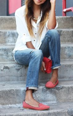 cuffed jeans, basic white button down, red shoes & handbag