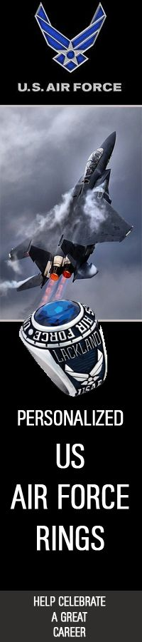 Celebrate a rewarding career in the US Air Force with a Personalized Military Ring  #USAF #AirForceReserve | http://www.us-military-rings.com/Air-Force-Rings.html